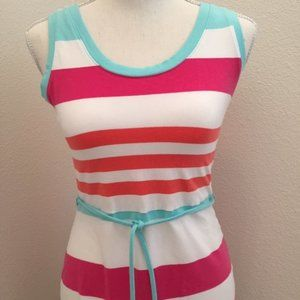 Talbots Sleeveless Knit Jersey Stripe Maxi Dress